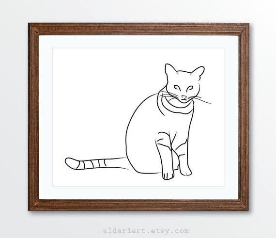 Line Art Etsy : Cat art print minimalist line drawing