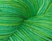 Vivid Green Dark OOAK All That Glitters DK Merino Silk Stellina Yarn