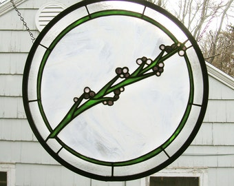 """A Spray of Lavender - 16""""  Circle Stained glass window"""