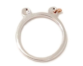 Bear Ears 14K Solid Gold Ring (Teddy Bear Punk Shape Ears Ring Great for Stacking, Pinky, Midi) {available in Yellow, White or Rose Gold}
