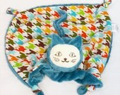 Small Lovey, Baby Blanket, Security Blanket, Blue and Houndstooth Cat, Baby and Children Toy, Lovies, Teething Toy, Sensory, Stuffed Animal