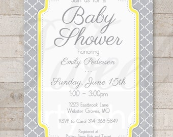 Baby Shower Invitations - Gray and Yellow - Boy or Girl Baby Shower Decorations - Gender Neutral Shower - Set of 12