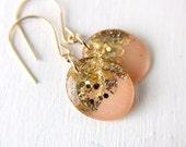 peach and gold drop earrings, glitter drop earrings, gold glitter, gold foil earrings, peach earrings, dangle earrings, spring earrings