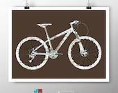 Mountain Bike Hardtail Street Map Bicycle Art on Premium Archival Matte Paper