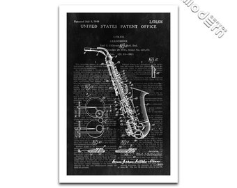 Saxophone Patent Art Giclee on archival matte paper