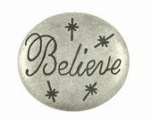 Metal Buttons - Believe Antique Silver Metal Shank Buttons  - 28mm - 1.10 inch - 2 pcs