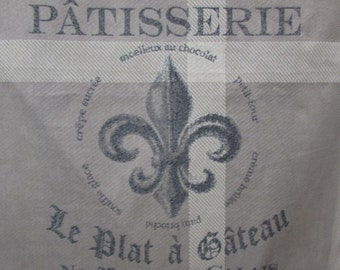 PATISSERIE Fleur De Lis taupe/gray/sand 26x26 pillow dining chair cushion upholstery fabric
