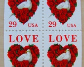 Love Birds UNused Vintage US Postage Stamps Booklet of 20 29cent 1994  Red Heart White Dove Valentine's Save the Date Wedding Postage 2814a