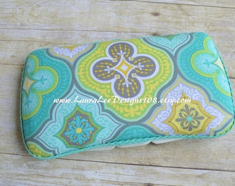 Turquoise and Lime Floral Medallion,Travel Baby Wipe Case, Personalized Wipe Case, Baby Wipe Case, Diaper Wipe Case, Baby Shower Gift