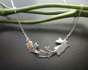 Sterling Silver Bunny Necklace - Bunny Charm Pendant - Mother & Baby Necklace - Personalized - Mommy Jewelry - Mother's day - Baby Bunny