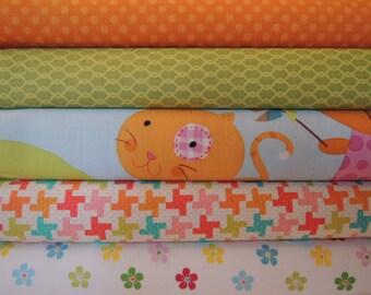 Kitty Fun Rag Quilt Kit, Premium Designer Fabric, Easy to Make, Personalized, Bin E