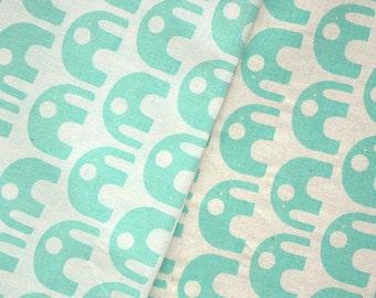 50% OFF Hand-printed Elephants in Aqua on organic cotton & hemp (Last piece)