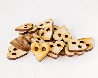 Wooden Heart Buttons - Set of 20