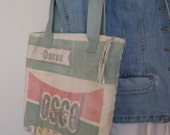 Vintage Alfalfa Seed Sack Bag Large Purse Upcycled From Double Printed Sack