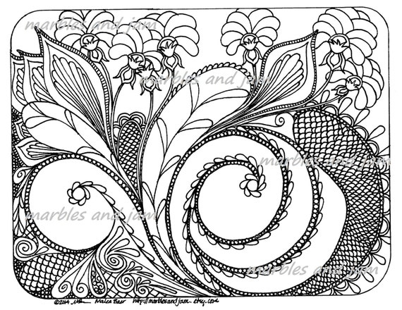 Abstract floral coloring page flowers flower coloring page