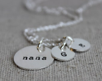 nana initials necklace | mothers day gift for nana | granny necklace | grand kids initials | grandmother gift