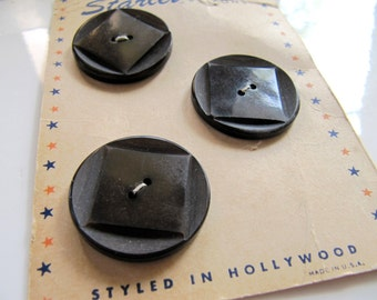 28mm Vintage Plastic Buttons in Dark Brown, Carved Square Center, 1-1/8 inch, 3 Buttons, Flat Back 2 Holes, NOS on Original Card