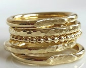 14k Gold Rings - Five Gold Rings - Handmade - Venexia Jewelry - Engagement Rings - Stacking Rings - Valentine's Day Gift
