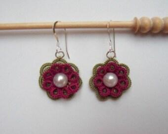 Flower Lace Earrings (Boysenberry & Green)