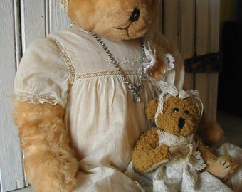 Large Handmade Teddy Bear and her Baby are Embellished with Lovely Vintage Treasures Dress Buttons Rhinestone Jewelry Laces Pink Paper Rose