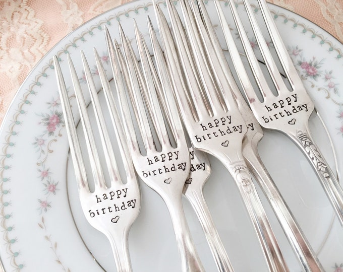 Happy Birthday fork with heart... sweet vintage keepsake tradition, hand stamped.