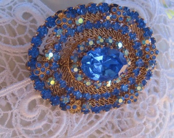 Vintage Brooch Austrian Filigreed/ Large Antique Blue Sapphire Glass /Blue Aurora Stones