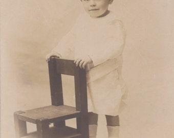 Vintage Photo - Little Boy Standing by a Chair - Vintage Photograph, Ephemera (C)