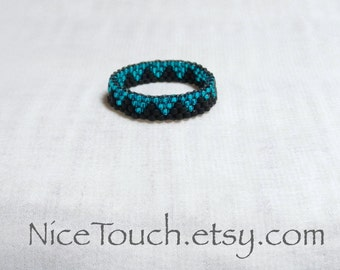 SUMMER SALE!!! Free Shipping or Save 20% ~ Summer Evening black and teal peyote beaded ring ~ Made to Order
