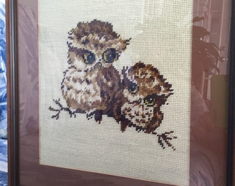 Owl Needlepoint Framed Picture c.1970 by Gatormom13