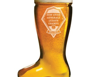 Fantasy Football or Baseball League Trophy - Custom Engraved 1 Liter Beer Boot - Das Boot -
