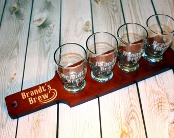 8 Custom Engraved Beer Flight Paddle and Sample Glasses Set - Groomsman Gift - Mens Gift - Fathers Day Gift - Craft Beer Gift