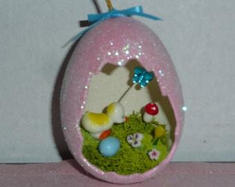 Vintage Style Sugared Easter Egg Diorama - Easter Decoration