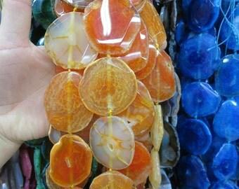 Large Orange druzy agate slab Beads 35x45mm