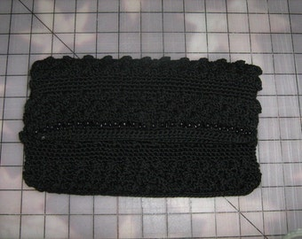 1960s Vintage Black Crocheted Envelope Clutch