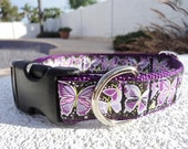 """Sale Dog Collar, Butterfly Fantasy 1"""" Quick Release or, Martingale collar, style adjustable"""