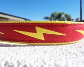 "Dog Collar Lightning Bolt, Red, Martingale collar, or Quick Release buckle 1"" wide adjustable -info in details - see 3/4"" Black Bolt collar"
