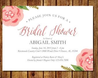 Blush Pink Floral Bridal Shower Invitation