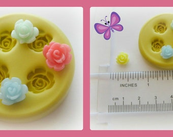 Silicone Mold Flower Rose Tiny Polymer Clay Flowers Cabochon Mold Resin Clay Mould
