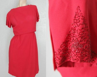 """1960's Red Beaded Sleeves Vintage Wiggle Dress Mad Men Sz S 26"""" Waist by Maeberry Vintage"""