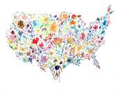 Botanical USA Map Watercolor Painting