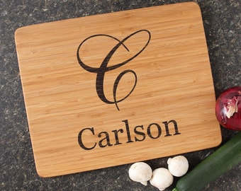 Personalized Cutting Board, Personalized Wedding Gift, Custom Engraved Bamboo Cutting Boards, Monogram Gifts, Housewarming Gifts-15 x 12 D3