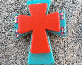 Large Stacked Turquoise Blue Stone Cross with Orange Stone Cross and Bling