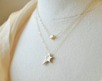 Gold Star Layered Necklace - Layered Star Necklace,14K gold filled chain, Layering Necklace, Tiny Small Charm, Cute Trendy Necklace
