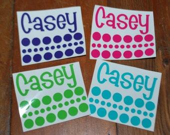 Yeti Tumbler Decal - FOUR Vinyl Names & Polka Dots