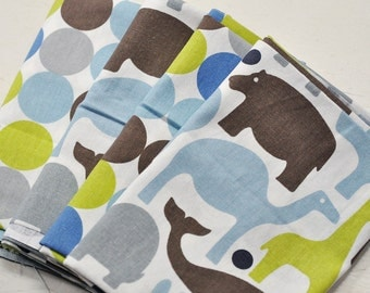 fabric  large dots, animals, grey, brown, olive, blue