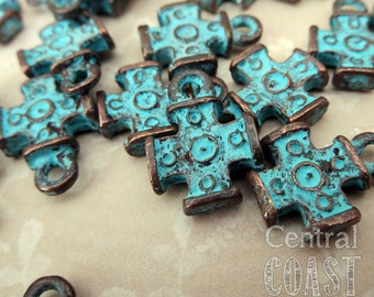Old World Celtic Rosary Cross Dangle Charm - Copper Verdigris Green Patina - 12mm x 16mm - 2 pieces - Central Coast Charms