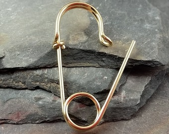 ONE Single 14k Gold Filled or 14k Rose Gold Filled Safety Pin Earring, one inch long