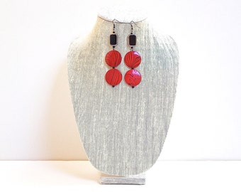 Red Drop Long Earrings, Red & Black Wood Beads, Black Enamel Glass Bead, Black Hooks