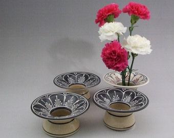Stoneware Ikebana Vase  Pin Vase Wedding centerpiece NEW white scallops on BLACK