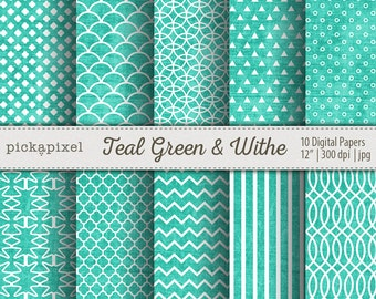 Teal Green and White Digital Papers, Textured Papers , Scrapbooking , Blogs , Cards , Backgrounds